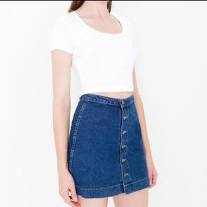 American Apparel jeans button front skirt